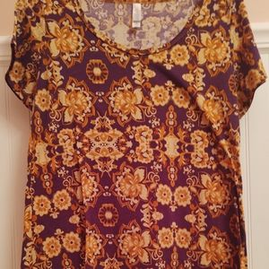 LuLaRoe Purple and Yellow Floral Top
